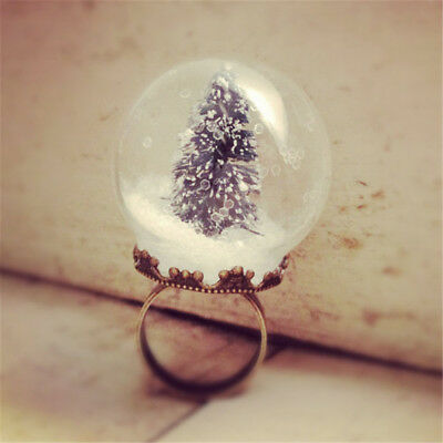 Christmas Tree Snowball Women Finger Ring Glass ball Xmas Gift Party Rings