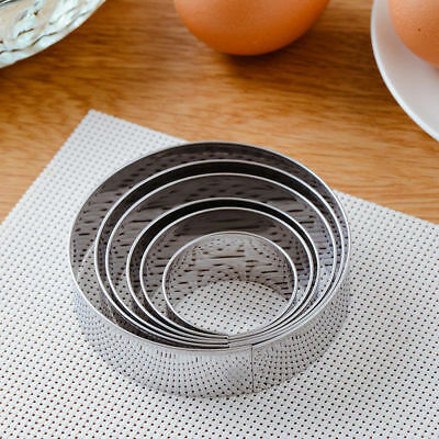 5Pcs Round Stianless Steel Cookies Cutter Biscuit Pastry Cake Baking Mould Tool