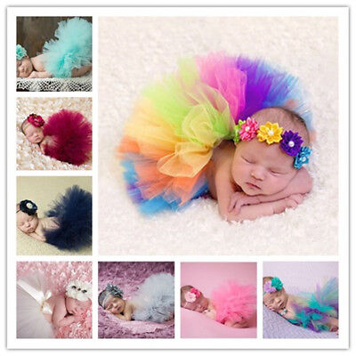 Infant Baby Girls Tutu Skirt with Flower Headband Set Newborn Photography Props*
