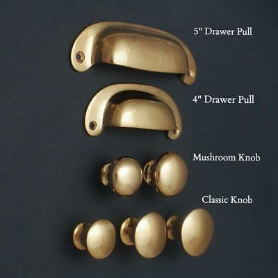 Solid Brass Cabinet Knobs Cupboard Cup Pull Drawer Handles Kitchen Classic Style