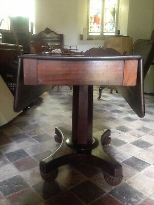 Exceptional Antique Mahogany 19th Century Flap Top Pedestal Table Dining Tea