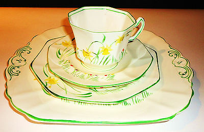 Radfords China vintage tea cup trio daffodils & cake plate afternoon tea party