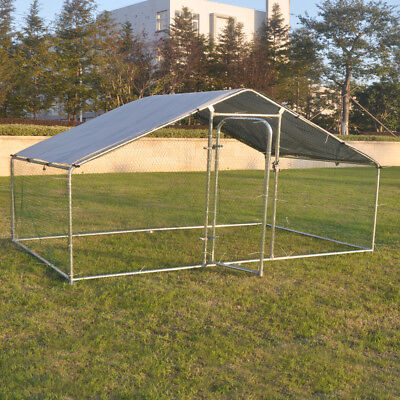 Metal Pet Cage Chicken Run Walk In Coop Hutch For Poultry Waterfowl Livestock UK