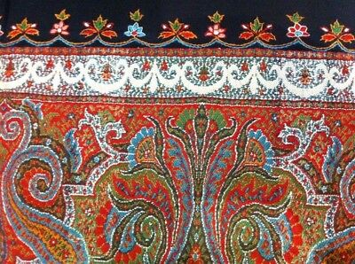 """Antique Kashmir Paisley Shawl, Kani-Style with Signature,19th C (65"""" X 65"""") WOW!"""