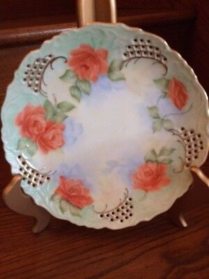 Vintage Porcelain Hand Painted Wall Decor Scalloped Pierced Design Plate Signed
