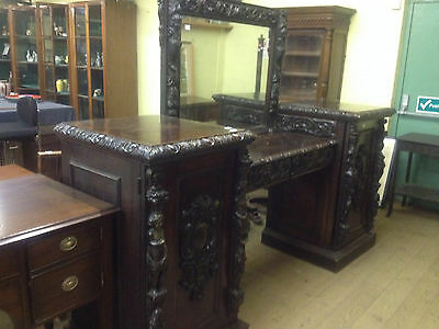 Victorian Gothic 19Th Century Carved Oak Mirrored Back Sideboard Dresser Bar