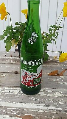 Vintage soda pop bottle MOUNTAIN DEW hillbilly Filled By Stan And Claire