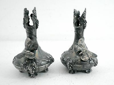 Antique Pair Small Art Nouveau vases, Circa 1900, silver plate Pewter WMF Style