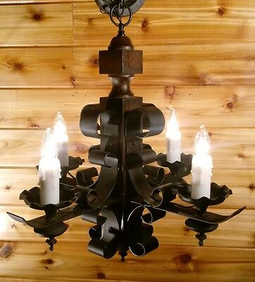 VTG Wrought Iron Gothic Tudor Arts and Crafts Hanging Chandelier 4 Arm Light