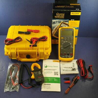 New Fluke 87V 87-V 87-5 Industrial TRMS Multimeter, Box, Clamp, Hard Case, ETC