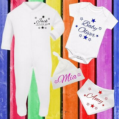 Personalised Baby Gift Set Clothing Kit Sleepsuit Vest Bib Hat Any Name Newborn