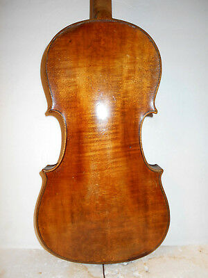 Old Antique Vintage 1800s 1 Pc Back Full Size Violin-No Reserve