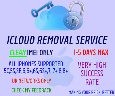 ICLOUD REMOVAL - UK Networks Only - Fastest Service 24-72 Hours