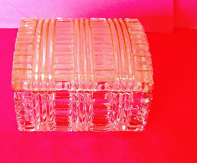 "Fabulous and Rare 4 1/2 "" Akro Agate Small CRYSTAL Treasure Box Chest"