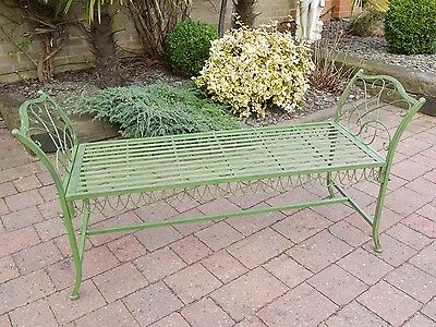 Vintage Style Antique Green Wrought Iron Metal Garden Bench Seat