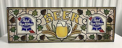Vintage Pabst Blue Ribbon Beer Pbr Classic Logo Marquee Bar Pub Window Sign