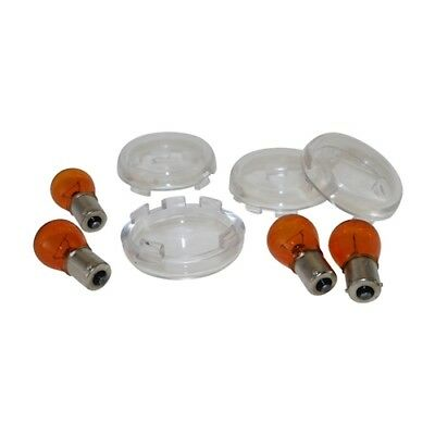 INDICATOR LENSES SET Clear White For Harley Softail Sportster Dyna XL Fat NEW