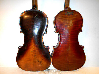 Lot of 2 Old Vintage Antique 2 Pc Back Violins - No Reserve
