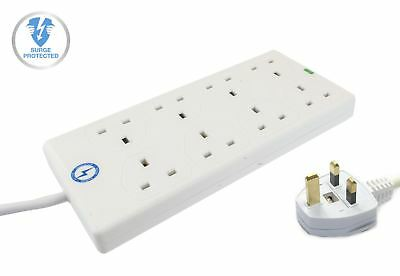 Wickes Master 8 Way Extension Lead Surge Protector w/ Neon Indicators in White