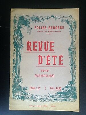 Entertainment Memorabilia Periods & Styles Vintage Programme Theatre Folies Dramatiques 1920s