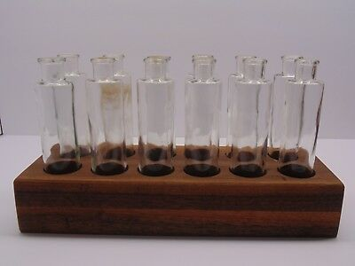 Vintage Clear Glass Apothecary Bottles With Walnut Base 12 Piece Set