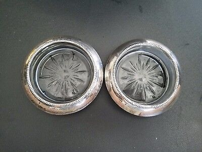 Frank m Whiting & co. #4 Sterling Rim Glass Coaster set of 2