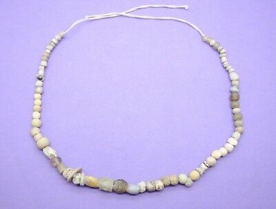 Ancient Egyptian clay, faience, glass, stone and shell bead necklace 664-332 BC