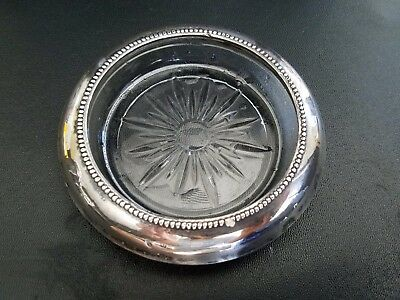 Frank m Whiting & co. #5 Sterling Rim Glass Coaster 4 1/2""