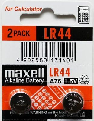 2 x Maxell LR44 / A76 / L1154 / AG13 1.5v Alkaline Button Cell Battery - BRAND N