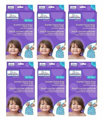 Baby Works Disposable Scented Diaper Bags 300pk 6 boxes of 50pk
