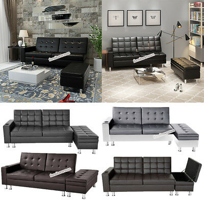 Deluxe Faux Leather Corner Sofa Bed with Storage Ottoman Couch Recliner Sofabed