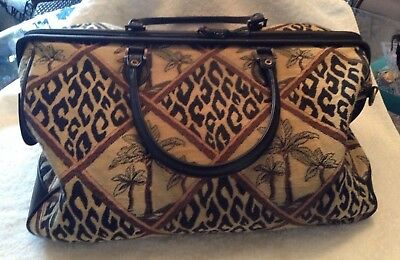 Tapestry CARPET Bag large new BUENO leopard, palm trees hinged double zipper