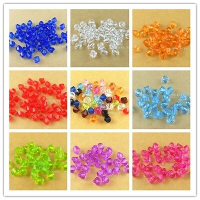 500Pcs 6mm Acrylic Spacer Loose Bicone Beads Bracelet Necklace Jewelry