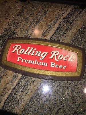 "VTG ROLLING ROCK BEER SIGN 10x5"" Hologrific Rare Excellent Cond"