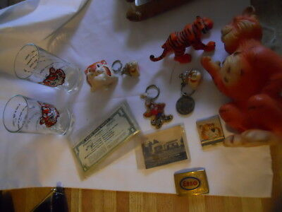 Lot of Vintage ESSO TIGER Items-BANK,PICTURE Glasses, Keychains etc..