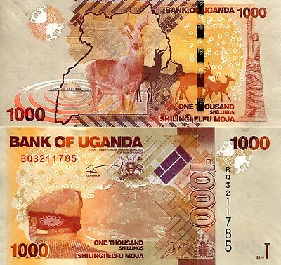 UGANDA 1000 Shillings Banknote World Paper Money Currency Pick p49b 2013 Deer