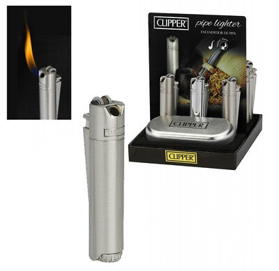 Clipper Pipe Lighter Angled Flame Metal Tin Case Gas Refillable Christmas Gift