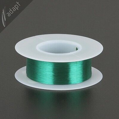 Magnet Wire, Enameled Copper, Green, 43 AWG (gauge), 155C, ~2 oz, 8000ft pickup