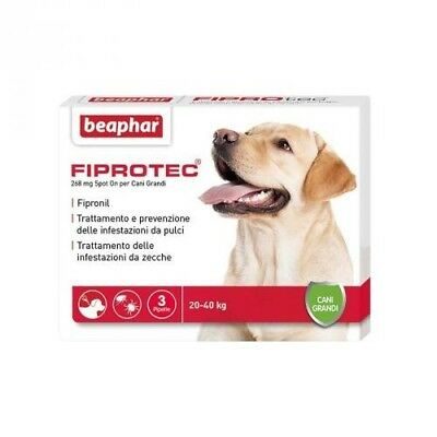 Beaphar FIPROTEC Antiparassitario Cani 20 a 40kg 3pip SCAD. 22/04/2018 *FIPRONIL