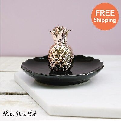 Copper Pineapple Trinket Dish Jewellery Fun Gift Home Vintage Ring Necklace Bowl