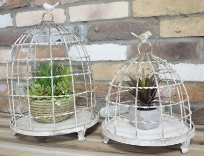 New Set Of Two Chic Rustic Birdcages  Candle Holder Plant Lantern Gift