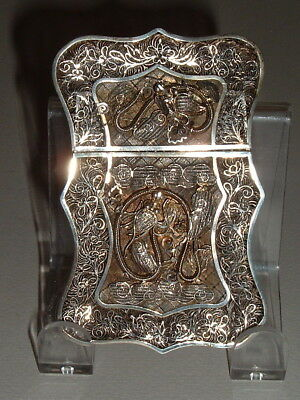Antique Chinese Sterling Silver Filigree Card Case Qing Dynasty ----- N0 Reserve