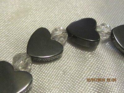 Bracelet - Hematite hearts and Crystal Spacers with metal clasp