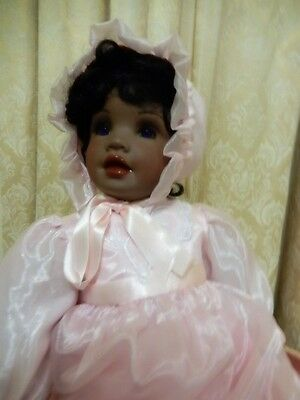 "Beautiful African Porcelain Baby  Doll-sitting position 13""- from top to toe 24"""