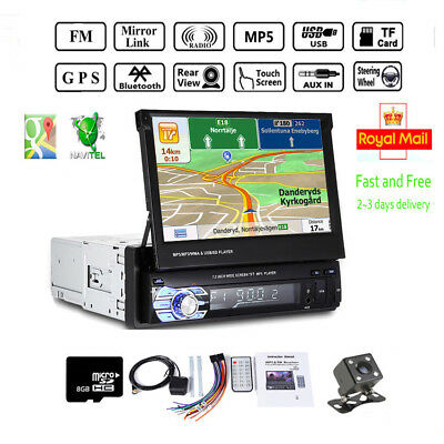 "7"" Single 1 Din Car Radio Stereo Player GPS SAT NAV MP3 AUX USB Bluetooth+Camera"