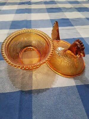 Amber Glass Chicken Candy Bowl