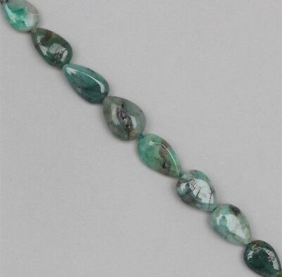Real Gems 125cts Emerald Graduated Plain Pears Approx 7x6 to 14x8mm, 37cm Strand