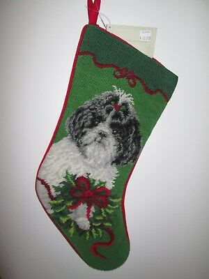 Black White Shih Tzu with Bow Dog Needlepoint Christmas Stocking NWT