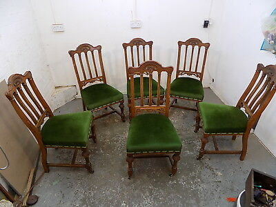 six,green,antique,carved,oak,dining chairs,chair,sprung seat,dining,castors,high