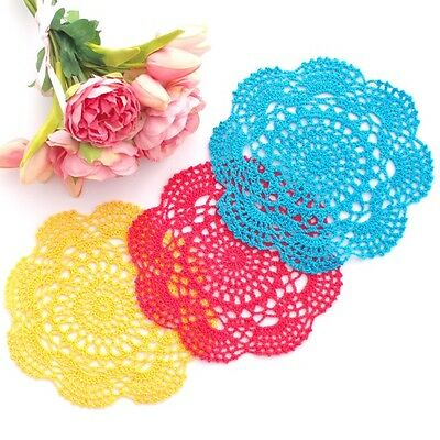 Crochet doilies yellow, hot pink and blue in 20-22 cm for millinery and crafts